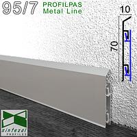 Алюмінієвий плінтус для підлоги Profilpas Metal Line 95/7SF, 70х10х2000мм. (+3 кліпси).