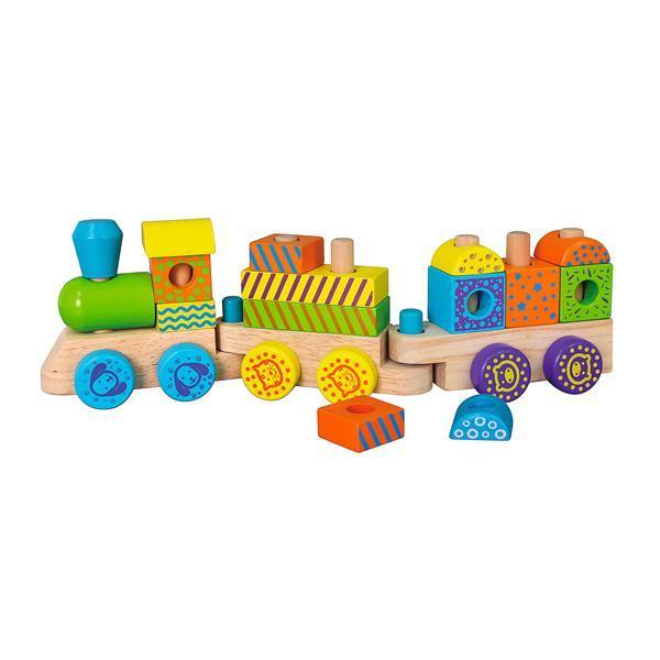 Деревянный поезд Viga Toys Кубики (50572)