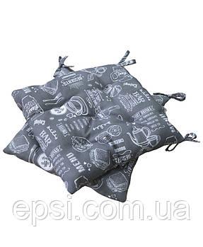 Подушка на стул с завязками серая Прованс GREY Breakfast 40*40