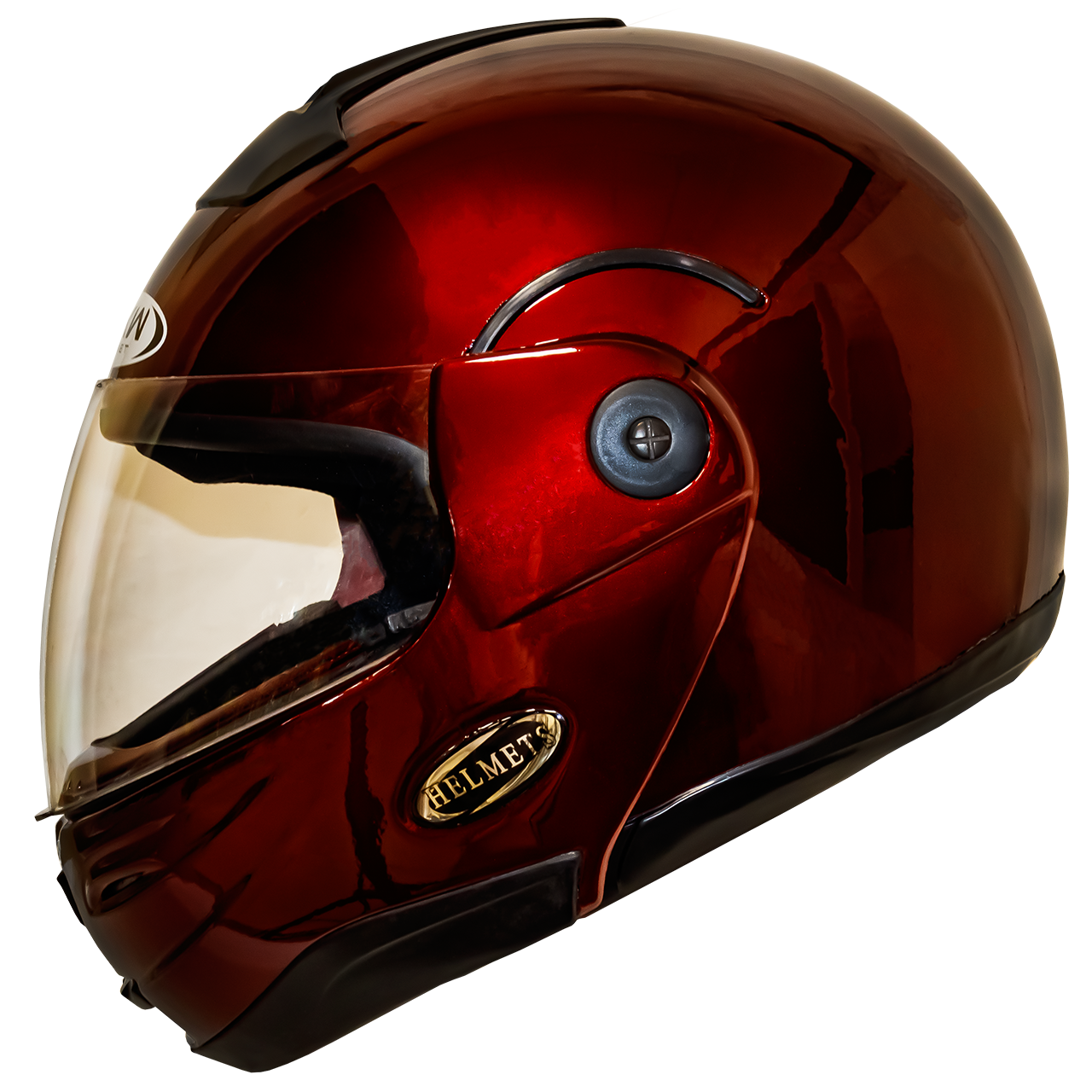 Мотошлем HF-108 solid red шлем трансформер, Flip-Up модуляр глянцевый красный