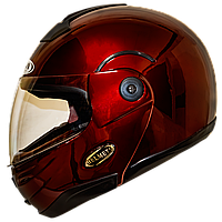 Мотошлем HF-108 solid red шлем трансформер, Flip-Up модуляр глянцевый красный, фото 1