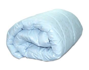 Одеяло двуспальное голубого цвета с наполнителем искусственный лебяжий пух