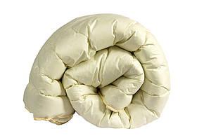 Ковдра полуторна бежевого кольору з наповнювачем штучний лебединий пух