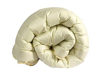 Одеяло евро бежевого цвета с наполнителем искусственный лебяжий пух
