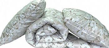 Одеяло двуспальное с цветами и наполнителем искусственный лебяжий пух + 2 подушки 70х70 см