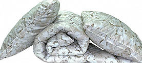 Ковдра полуторна з квітами і наповнювачем штучний лебединий пух + 2 подушки 70х70 см