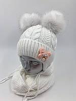ОПТ, Комплект, шапочка для дівчинки з баффом «Метелик », на флісі
