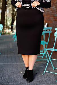 Р. 52-66 Женская деловая юбка-карандаш больших размеров длиной миди черная