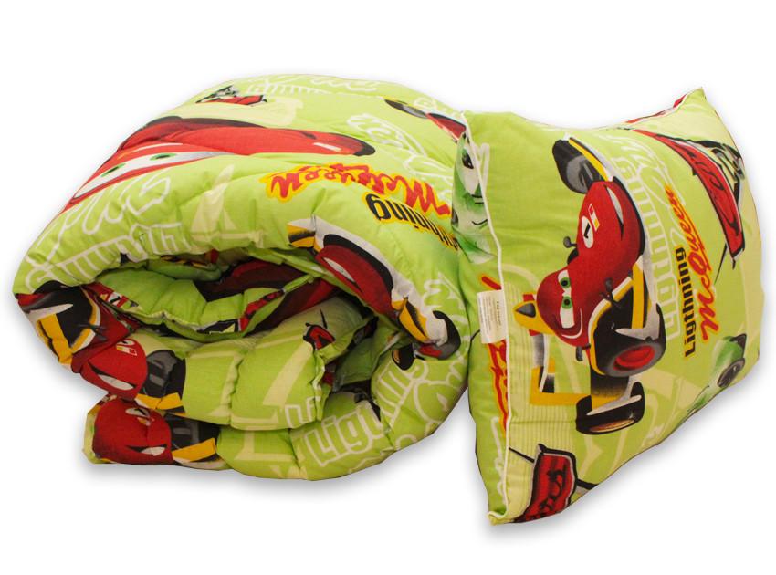 Одеяло полуторное с тачками и наполнителем искусственный лебяжий пух + 1 подушка 50х70 см