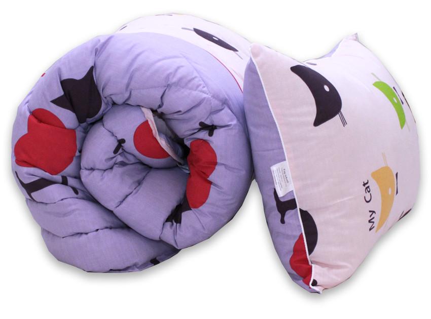 Одеяло полуторное с котиками и наполнителем искусственный лебяжий пух + 1 подушка 40х60 см