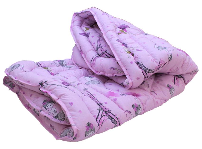 Одеяло полуторное сиреневого цвета с сердечками и наполнителем искусственный лебяжий пух