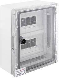 Корпус ударостійкий з АБС-пластику 250х330х130мм, IP65 з прозорими дверима і під панеллю 18 модулів