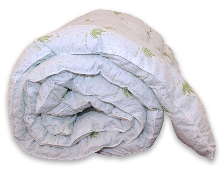Одеяло двуспальное белого цвета с узором и наполнителем экопух