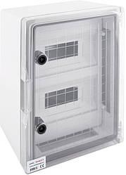 Корпус ударостійкий з АБС-пластику 300х400х165мм, IP65 з прозорими дверима і під панеллю 24 модуля