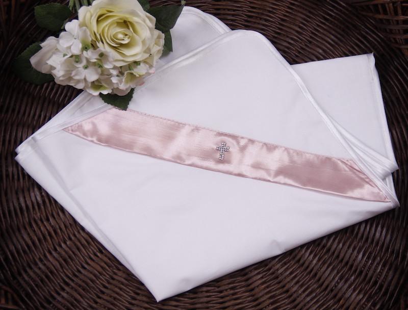 Крыжма для крещения с уголком хлопковая розовая Angel