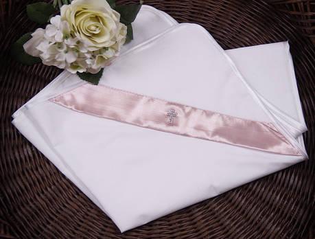 Крыжма для крещения с уголком хлопковая розовая Angel, фото 2