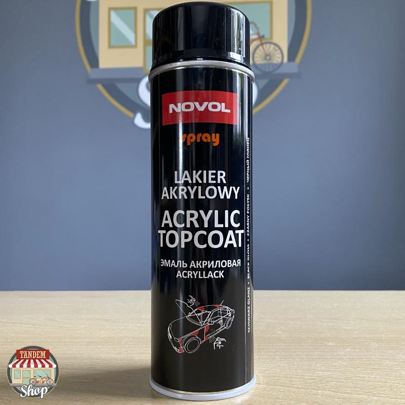 Эмаль акриловая универсальная Novol Spray, 500 мл Аэрозоль Черный глянец