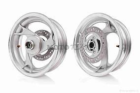 Диск колеса передний  12-3.50  литой, 3 спицы, тормозной диск, d12  190x3mm, ниппель