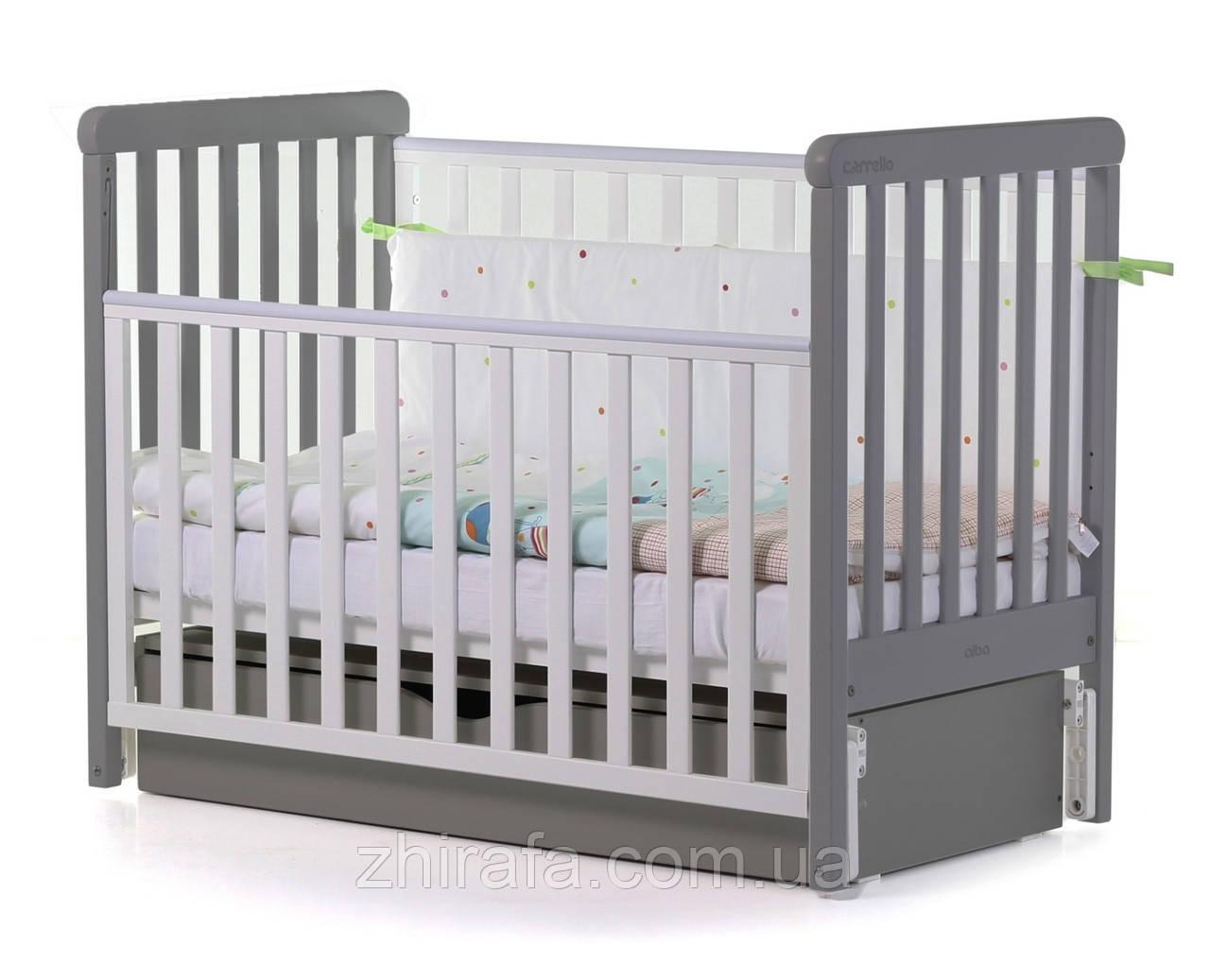 Деревянная Кроватка для малышей Carrello Alba  с маятником и ящиком