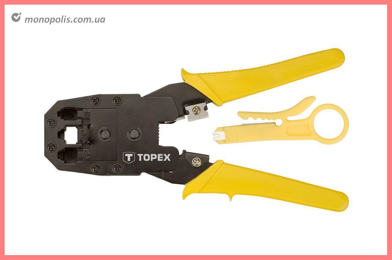 Клещи для опрессовки штекеров Topex - 185 мм RJ11 (4P), RJ12 (6P), RJ45 (8P)
