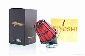Фильтр воздушный (нулевик)  d28  косой  карбон  двуслойный  KIYOSHI  ТАЙВАНЬ  (красный)