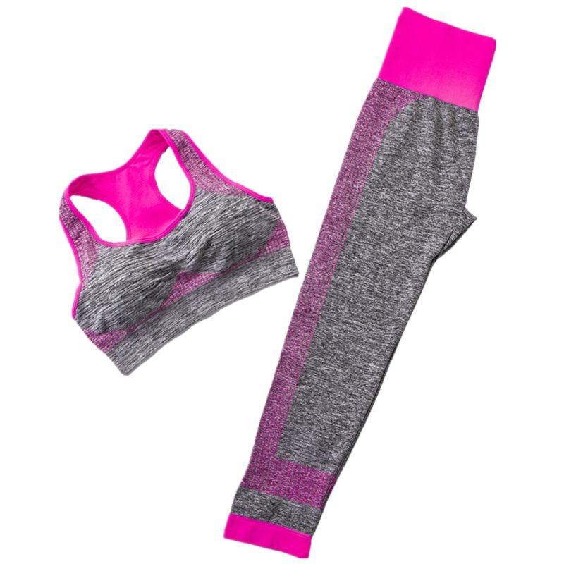 Спортивний жіночий костюм для фітнесу бігу йоги. Спортивні жіночі легінси топ для фітнесу (сірий з рожевим) M