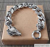Серебряный мужской браслет с драконом дракон
