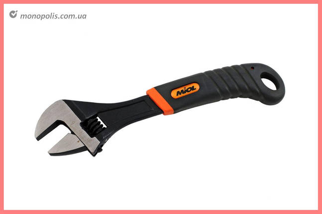 Ключ разводной Miol - 200 мм (0-24 мм), оранжевая ручка, фото 2