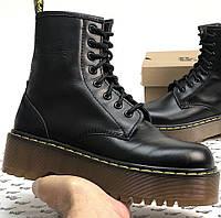 Женские зимние ботинки Dr. Martens Jadon ТЕРМО без меха черные осень-зима. Живое фото. Реплика (мартинсы)