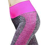 Спортивний жіночий костюм для фітнесу бігу йоги. Спортивні жіночі легінси топ для фітнесу (сірий з рожевим) M, фото 5