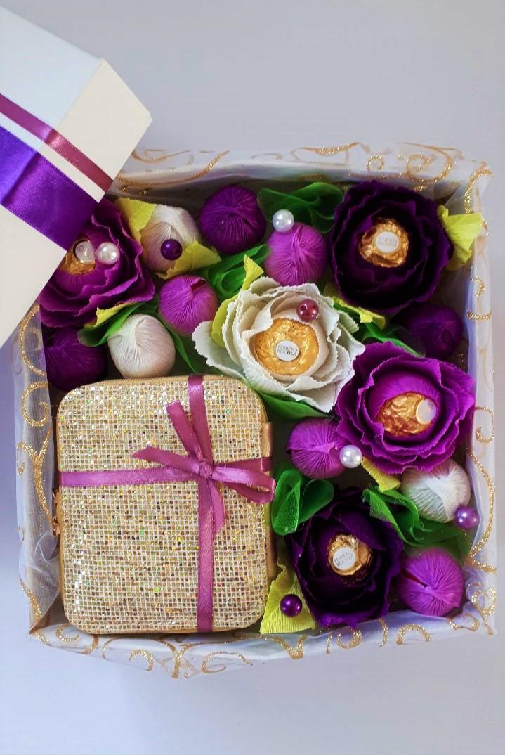 Конфетный подарочный BOX Фиолетовое золото
