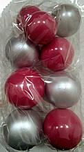 """Набір """"Кульки святкові (9шт) Малиново/срібні"""""""