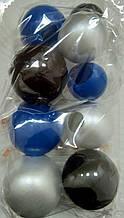 """Набір """"Кульки святкові (9шт) синьо/срібно/чорні"""""""