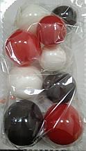 """Набір """"Кульки святкові (9шт) червоно/білі/чорні"""""""