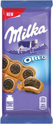 Шоколад Milka с печеньем Орео с ванильной начинкой, 92 г, фото 2