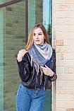 🔥ТОП!!! Большой синий кашемировый платок в клетку LEONORA, фото 3