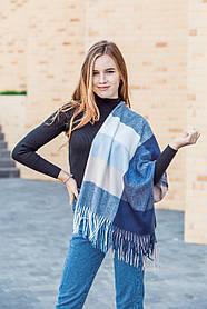 🔥ТОП!!! Большой синий кашемировый платок в клетку LEONORA