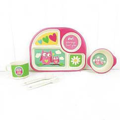Набір дитячої бамбуковій посуду Stenson MH-2773-1 Совушки
