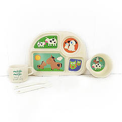 Набір дитячої бамбуковій посуду Stenson MH-2773-1 Ферма