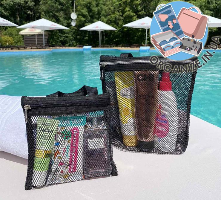 Набор из 2 шт сумочки-косметички для душа или пляж ORGANIZE (черный)
