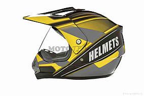 Шлем кроссовый  VLAND  #819-4 +визор, L, Black/Yellow