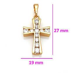 Крест со вставками циркония, медицинское золото, 18К