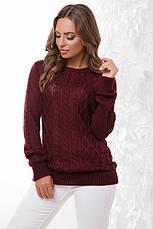 Стильний жіночий светр з круглою горловиною і красивою в'язкою, колір джинс, фото 3