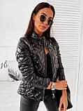Женская короткая тёплая лаковая на молнии куртка  с двумя карманами Размеры:42-44,46-48,50-52,54-56, фото 4