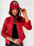 Женская короткая тёплая лаковая на молнии куртка  с двумя карманами Размеры:42-44,46-48,50-52,54-56, фото 5