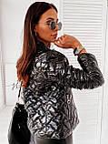Женская короткая тёплая лаковая на молнии куртка  с двумя карманами Размеры:42-44,46-48,50-52,54-56, фото 6