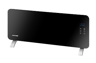 Конвектор электрический Concept KS4010, закаленное стекло, светодиодный дисплей, термостат, пульт ДУ, черный