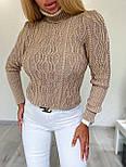 Женский приталенный вязаный свитер полушерстяной с узорами - косами (р. 42-46) 404982, фото 2