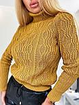 Женский приталенный вязаный свитер полушерстяной с узорами - косами (р. 42-46) 404982, фото 7