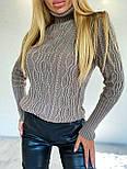 Женский приталенный вязаный свитер полушерстяной с узорами - косами (р. 42-46) 404982, фото 5